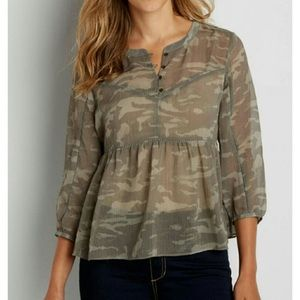 NWT Maurices sheer camo empire waist blouse